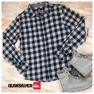 Quiksilver Flannel Button Down Shirt Small Gray